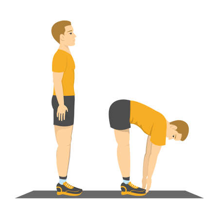 Man doing back stretch in the gym. Fitness and healthy lifestyle. No equipment workout for flexible body. Isolated vector illustration in cartoon style Illustration