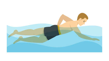 Man swimming in the pool. Exercise to relieve back pain. Swimmer training. Young athlete. Isolated vector illustration in cartoon style