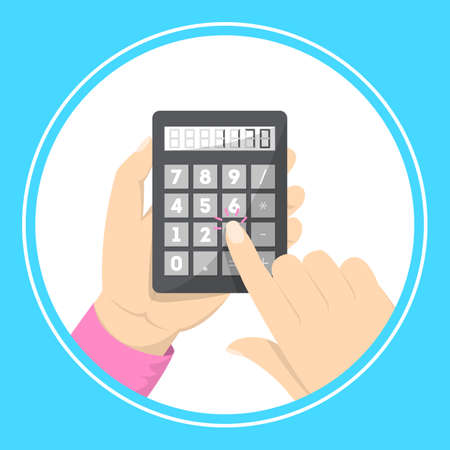 Had holding calculator. Making business calculation. Button with number on it. Idea of economy and budget measure. Vector illustration in cartoon style