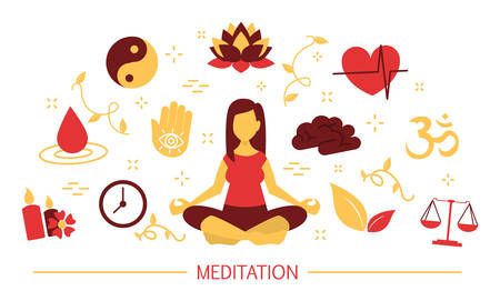 Meditation concept. Idea of body health and relax. Relaxation in lotus position. Mind wellness. Set of colorful icons. Isolated flat vector illustration
