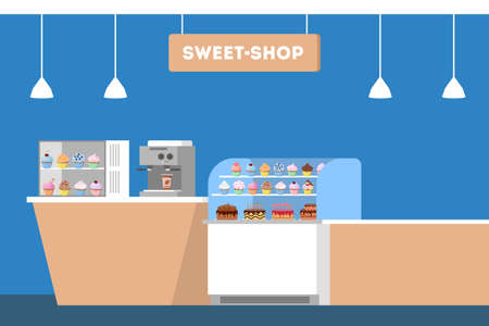 Sweet shop counter. Showcase fool of tasty sweet cake and cupcake. Bakery design element. Candy store concept. Isolated flat vector illustration