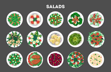 Zestaw świeżych organicznych sałatek. Zdrowy obiad z warzyw