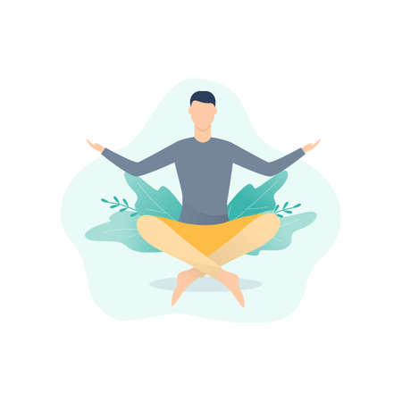 Meditation concept. Idea of body health and relax. Relaxation in lotus position. Mind wellness. Isolated vector illustration in cartoon style
