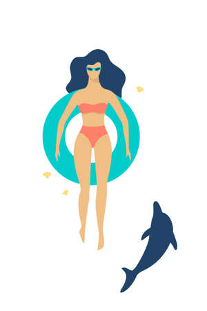Young happy woman swimming in the sea or pool with a rubber ring. Summer holiday and vacation. Relaxation on the ocean. Vector illustration in cartoon style Illustration