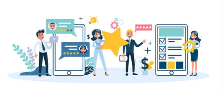 People holding big golden star as metaphor of rating. Customer satisfaction and quality evaluation. Success, excellence and achievement. Isolated vector illustration in cartoon style