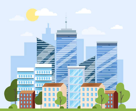 Cityscape, urban architecture. Business building and skyscraper. Modern view of the town. Isolated vector illustration in cartoon style