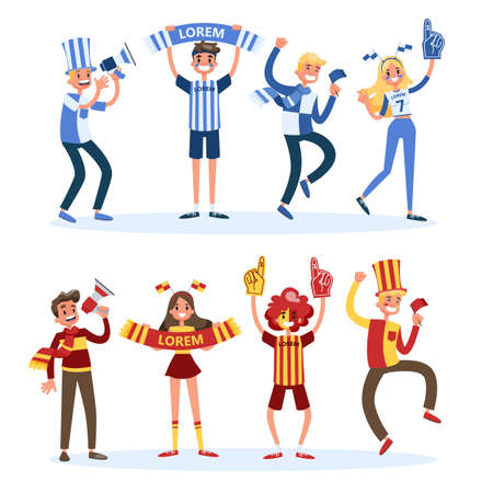 Soccer fan set. People with country flag support team. Group of happy character dancing and jumping. Vector illustration in cartoon style Vettoriali
