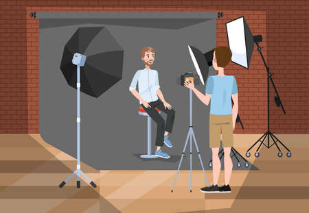 Handsome man making photoshoot in the studio. Guy sitting in front of camera. Creative photography. Vector illustration in cartoon style