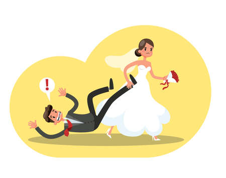 Angry bride in the white wedding dress dragging groom in the suit. Idea of wedding and marriage ceremony. Vector illustration in cartoon style