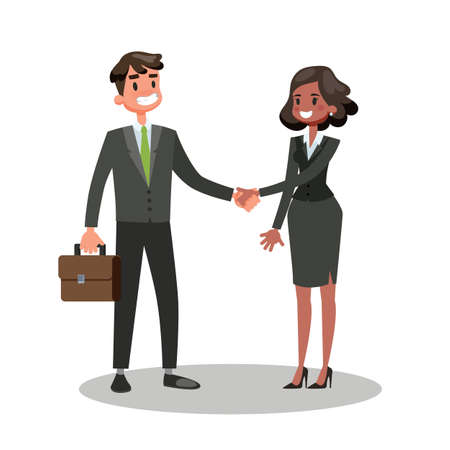 Two people shaking hands. Business deal and partnership. Idea of teamwork and agreement. Isolated vector cartoon illustration