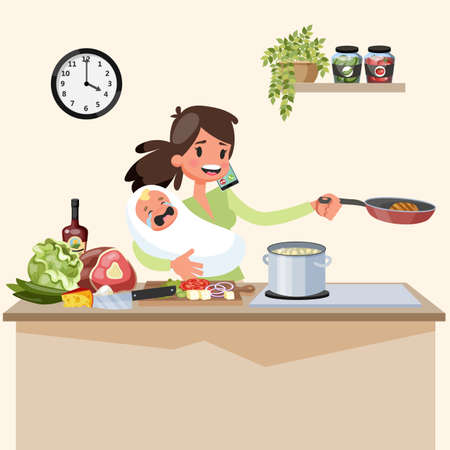 Busy multitasking mother with baby doing many things at once. Tired woman cooking and talking on the phone. Housewife lifestyle. Vector illustration in cartoon style Illustration
