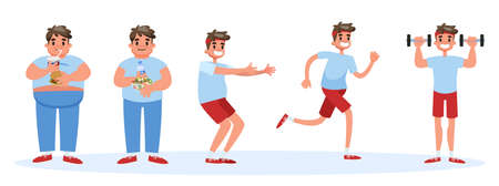 From fat to thin banner concept. Overweight man become thin and fit. Idea of diet and fitness. Isolated vector cartoon illustration