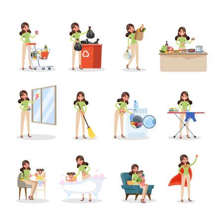 Une femme nettoie la maison et fait des travaux ménagers. Femme au foyer faisant la routine domestique quotidienne avec divers équipements. Illustration vectorielle plane isolée