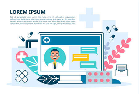 Online medical consultation concept. Idea of digital technology and smart medicine. Diagnostic through device. Remote treatment. Isolated vector illustration in cartoon style Vector Illustration