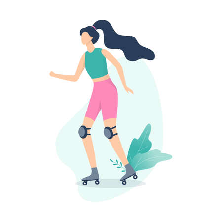 Young woman rollerskating. Outdoor summer activity and healthy lifestyle. Active female roller. Isolated vector cartoon illustration Illustration