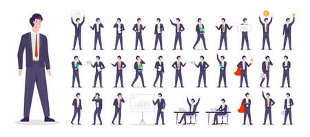 Businessman character set. Character in suit doing
