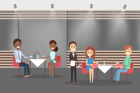 Cafe inteior. People sitting at the table, waiter standing in uniform. Restaurant indoors. Modern furniture. Flat vector illustration