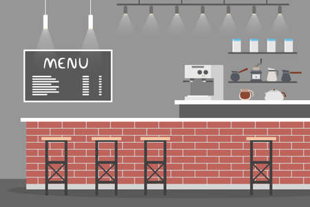 Empty cafe interior. Coffee shop menu on the blackboard and birck counter. Coffeemachine for espresso or capuccino making. Furniture in the bar. Flat vector illustration