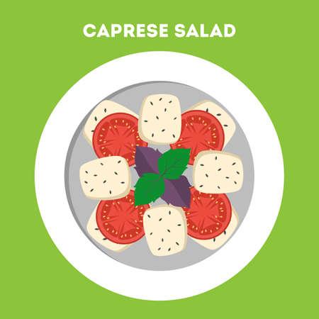 Caprese fresh salad. Basil, cheese and tomato.