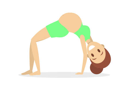Pregnant woman doing yoga exercise. Pregnancy and fitness. Young female character sitting in lotus pose. Health and relaxation. Vector flat illustration Çizim