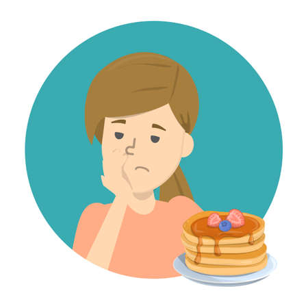 Woman with food aversion or eating disorder. Woman refuse tasty food. Symptom of disease or pregnancy. Unhealthy eating. Isolated vector illustration in cartoon style