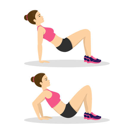 Woman doing arm workout. Exercise for tricep and bicep. Fitness in the gym. Healthy and active lifestyle. Isolated vector illustration in cartoon style