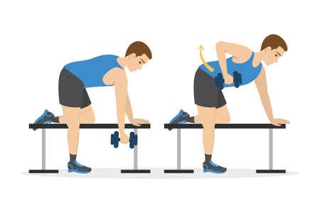 Uomo che fa allenamento per le braccia. Idea di stile di vita sano e attivo. Sport e costruzione muscolare. Illustrazione vettoriale isolato in stile cartone animato Vettoriali