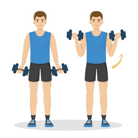 Hombre haciendo ejercicios de brazo con mancuernas. Idea de estilo de vida activo y saludable. Deporte y musculación. Ilustración de vector aislado en estilo de dibujos animados Ilustración de vector