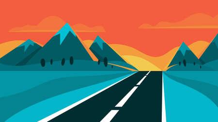 Autobahn und Abendlandschaft. Berg im Hintergrund. Reise- und Reisekonzept. Asphaltstraße. Vektorillustration im Cartoon-Stil