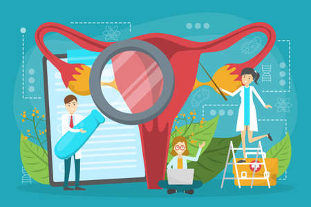 Doctor make uterus examination concept. Gynecology and female Illustration
