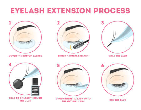 Eyelash extension guide for woman. Infographic with eyelashes volume correction. Fake lashes making. Fashion and beauty. Isolated vector illustration in cartoon style
