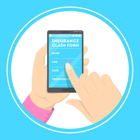 Insurance claim form on the mobile screen