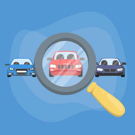 Wählen Sie Auto mit Lupe. Automatische Auswahl zum Kauf oder zur Miete. Suche nach einem guten Fahrzeug. Vektorillustration im Cartoon-Stil Vektorgrafik