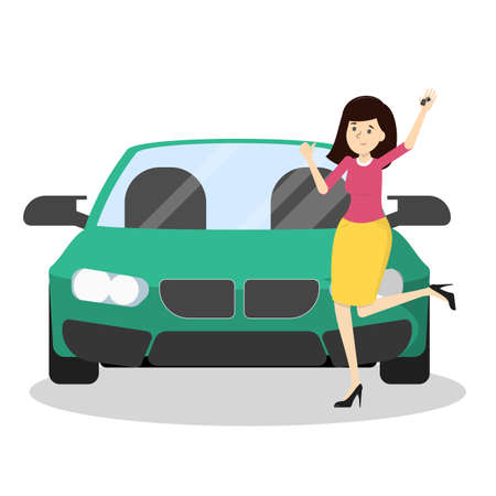 Happy woman standing at the green car and showing thumbs up. Idea of vehicle and transportation. New auto. Vector illustration in cartoon style