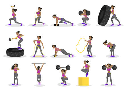 Set of people doing workout. Fitness and bodybuilding exercise in the gym. People with barbell and rope. Healthy and active lifestyle. Isolated vector illustration in cartoon style