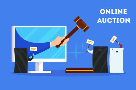 Online auction concept banner set. Taking action in auction through the digital device. Bid and buy art online. Flat vector illustration 向量圖像