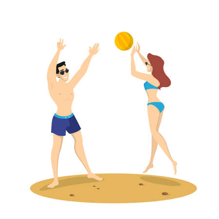 Couple playing beach volleyball. Summer activity at the sea or ocean. Healthy active lifestyle. Woman jump and throw ball. Isolated vector illustration in cartoon style Çizim