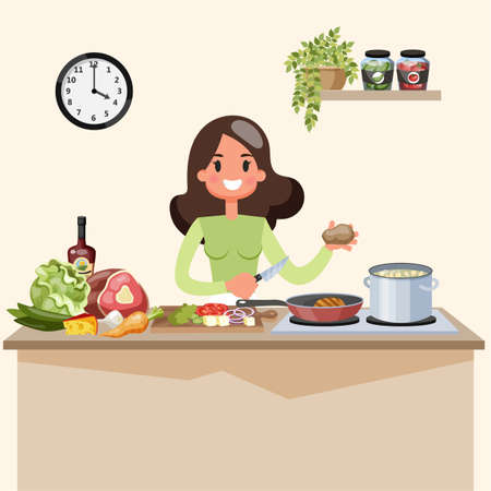 Beautiful woman cooking soup on the kitchen. Homemade delicious food. Cute housewife at the stove. Vector illustration in cartoon style