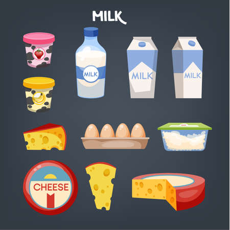 Dairy food set. Collection of product made of milk. Yoghurt and butter. Healthy meal. Vector illustration in cartoon style Ilustração
