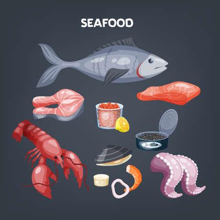 Seafood set. Salmon slice and shrimp, shellfish.