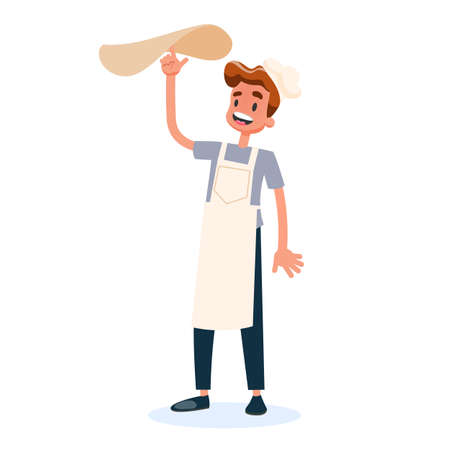 Chef in the uniform spinning pizza dough on the finger. Cook tasty delicious italian food on kitchen. Meal preparation. Vector illustration in cartoon style