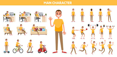 Man in a casual clothes set. Collection of character doing different activity. Happy young guy standing, working, running. Isolated vector cartoon illustration 向量圖像