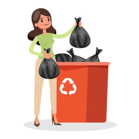 Woman throw plastic bag with garbage in a trash bin. Housewife clean house. Red container for trash. Isolated vector cartoon illustration