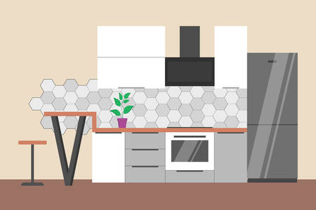 Empty kitchen interior. Fridge, oven and home furniture. Apartment design. Flat vector illustration Stok Fotoğraf - 122878388