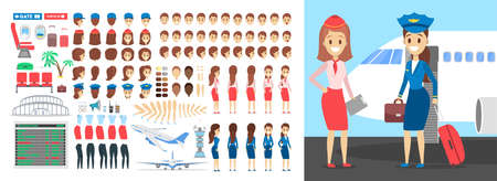 Stewardess character set for the animation with various views, hairstyle, emotion, pose and gesture. Airport element. Flat vector illustration Ilustrace