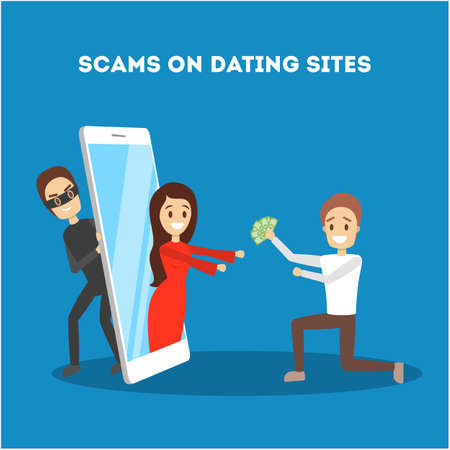Online dating app concept. Virtual relationship and love. Couple communication through network on the smartphone. Perfect match. Hacker on website, personal data in danger. Flat vector illustration