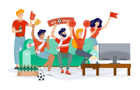 Football fan in sport clothes watching soccer on the TV. Supporter and championship. People on the sofa. Isolated vector cartoon illustration