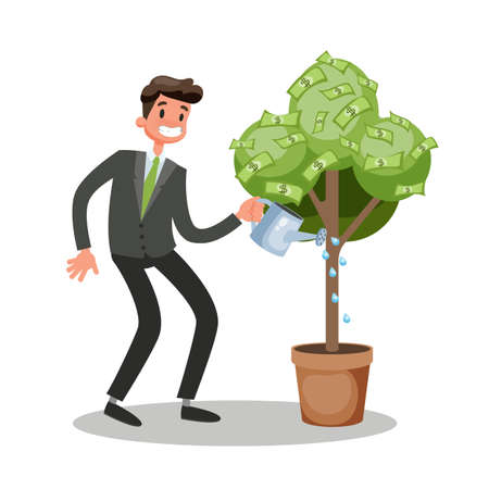 Happy businessman in a suit water a money tree. Idea of financial investment and growth. Rich person earning green dollar currency. Isolated vector cartoon illustration