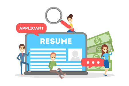 Recruitment concept banner. Idea of employment and human resources. Find candidate for a job. Vacant place. Isolated flat vector illustration Illustration