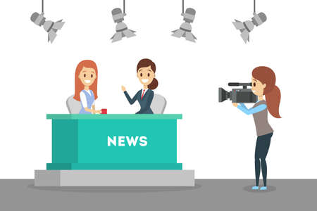 Shooting news show in the studio. Newscaster in business suit. Cameraman and videographer standing with camera. Interview on TV. Isolated flat vector illustration 向量圖像